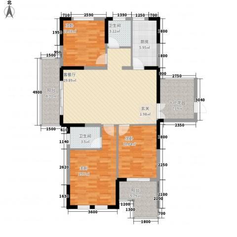 大华锦绣华城3室1厅2卫1厨139.00㎡户型图