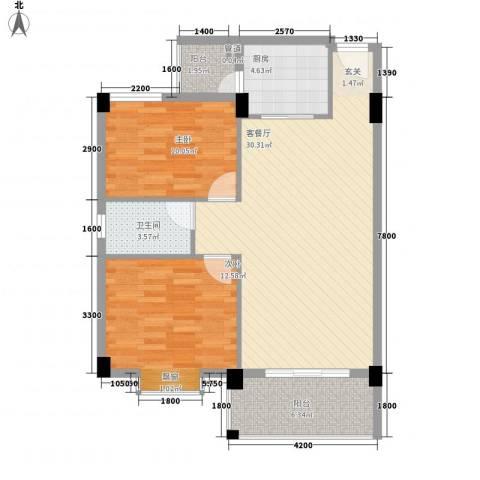 瑜进嘉园2室1厅1卫1厨83.00㎡户型图