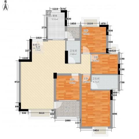 水木清晖园4室1厅2卫1厨90.94㎡户型图