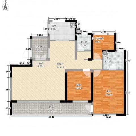 绿地中央广场2室1厅2卫1厨122.75㎡户型图