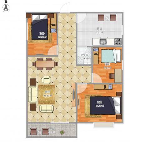 阳光四季6438393室1厅1卫1厨116.00㎡户型图