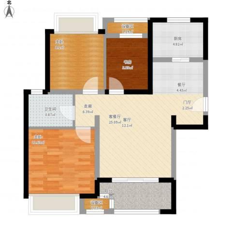 新城国际花都3室1厅1卫1厨96.00㎡户型图