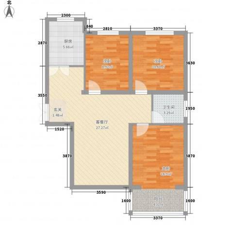 名人国际花园3室1厅1卫1厨72.05㎡户型图