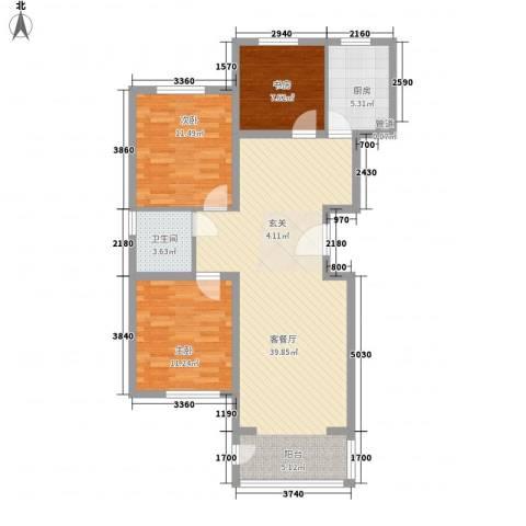 名人国际花园3室1厅1卫1厨79.21㎡户型图