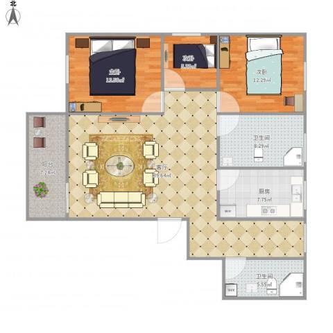 月亮湾花园7087703室1厅2卫1厨134.00㎡户型图