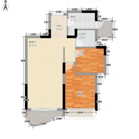 鹿茵华庭2室1厅1卫1厨78.00㎡户型图
