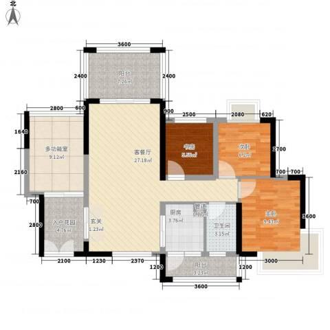 中央公园3室1厅1卫1厨85.00㎡户型图