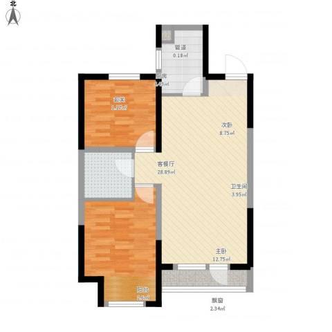 东安瑞凯国际2室1厅1卫1厨88.00㎡户型图