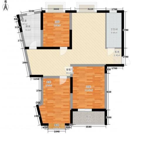齐鲁花园3室1厅1卫1厨128.00㎡户型图