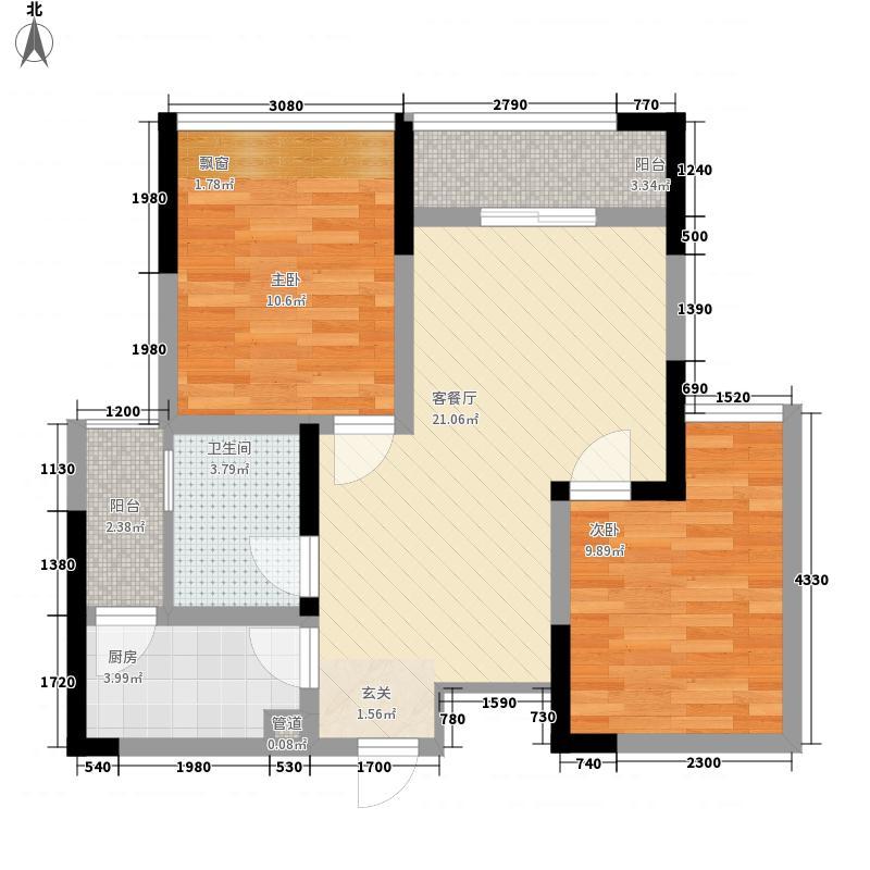 金鹏两江时光二期10幢标准层1号房户型