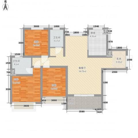 兰田首府3室1厅2卫1厨83.50㎡户型图