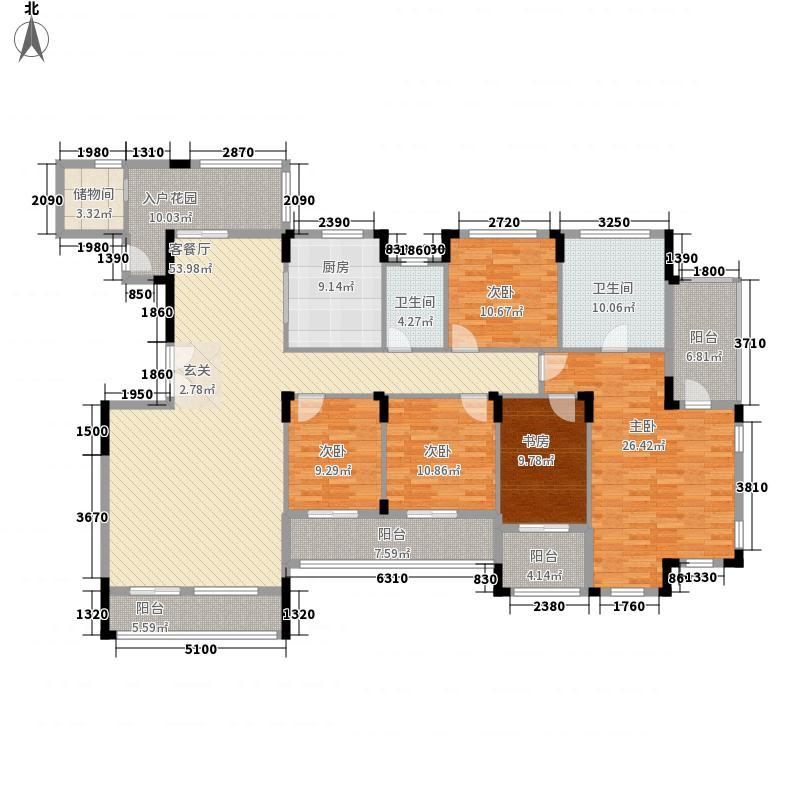 名门紫园256.14㎡1、15、28号楼501户型6室2厅4卫1厨