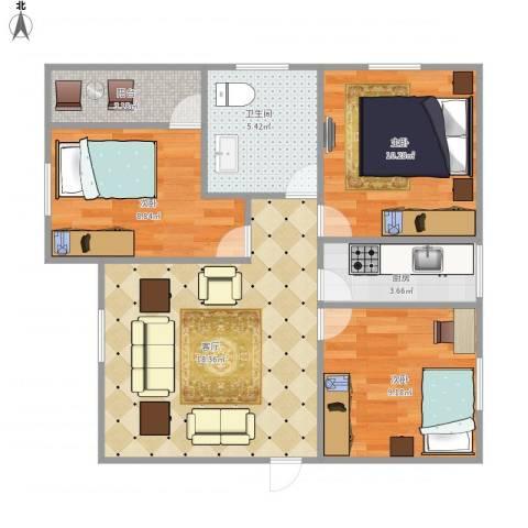 龙城花园7164843室1厅1卫1厨80.00㎡户型图
