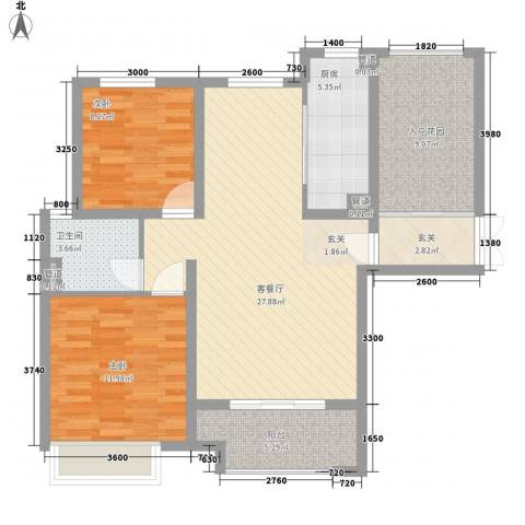 兰田首府2室1厅1卫1厨107.00㎡户型图