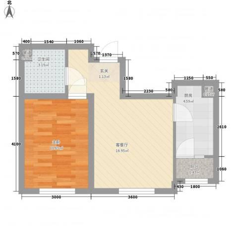 天盛名都1室1厅1卫1厨54.00㎡户型图