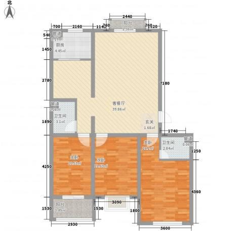 飞宇花园南区3室1厅2卫1厨134.00㎡户型图