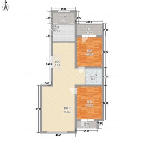 天盛名都2室1厅1卫1厨114.00㎡户型图