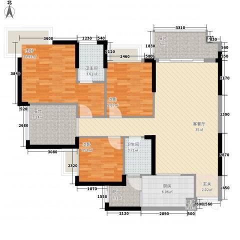 融汇温泉城锦华里3室1厅2卫1厨98.06㎡户型图