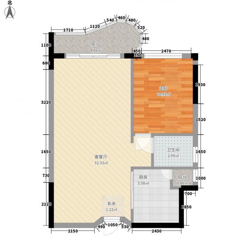 鹿茵华庭66.40㎡13号楼02/06单位户型1室2厅1卫1厨