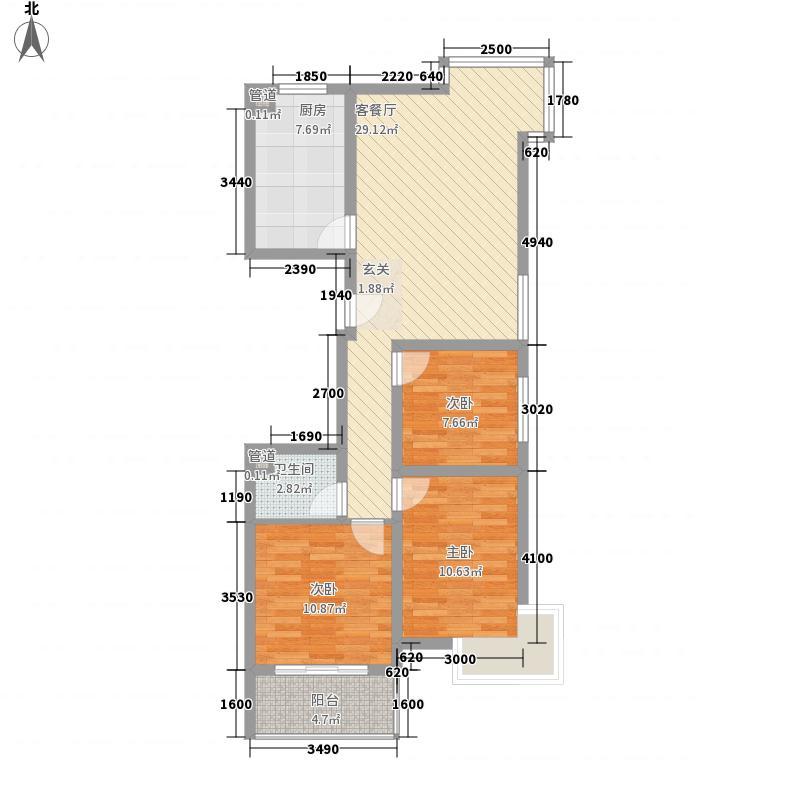 东兴寓城花园8-F(已售完)户型3室1厅1卫