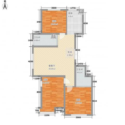 天盛名都3室1厅2卫0厨120.00㎡户型图