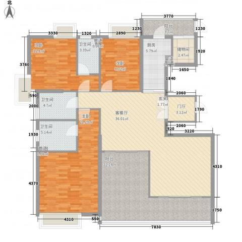 明丰东江府3室1厅3卫1厨183.00㎡户型图