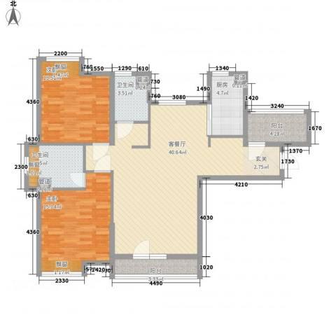紫阳楚世家2室1厅2卫1厨112.00㎡户型图