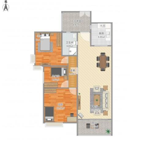 尚东雅轩3室1厅1卫1厨122.00㎡户型图