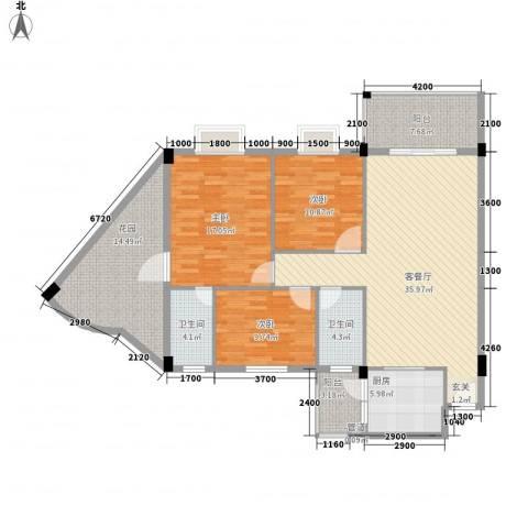 瑜进嘉园3室1厅2卫1厨128.00㎡户型图