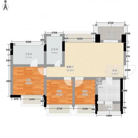 中熙松湖国际3室1厅2卫1厨86.00㎡户型图