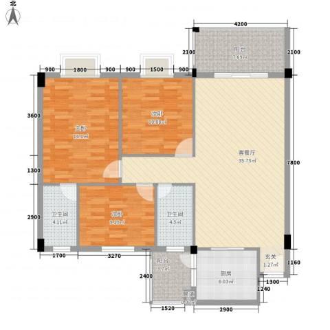 瑜进嘉园3室1厅2卫1厨118.00㎡户型图