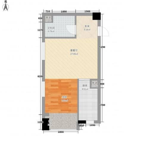 华润中心时与间1厅1卫1厨53.00㎡户型图