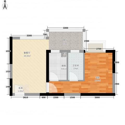 中央公园1室1厅1卫1厨45.00㎡户型图
