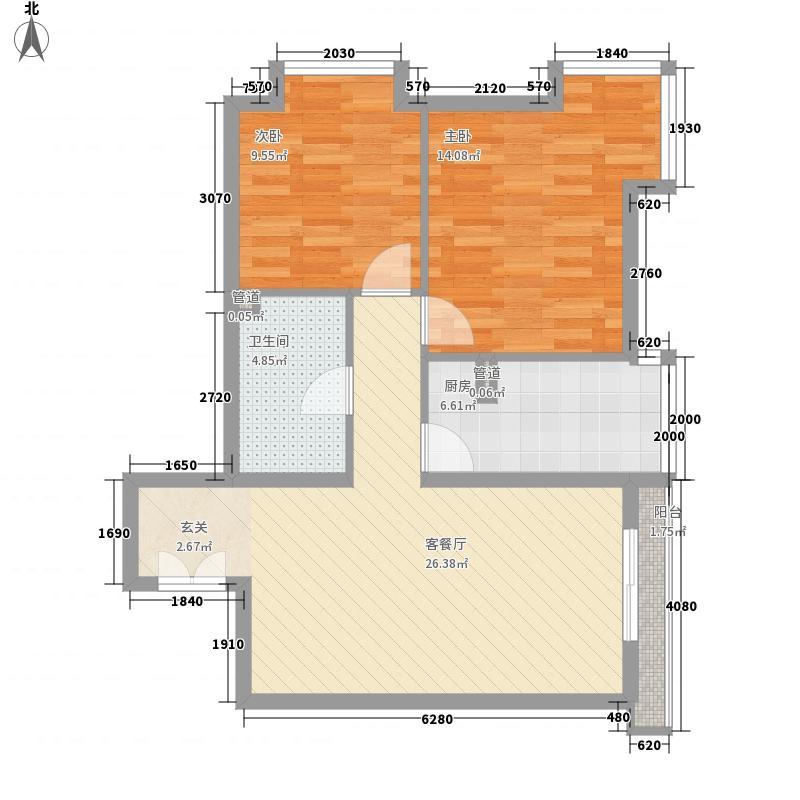 当代名筑84.60㎡13#B3户型2室2厅1卫1厨