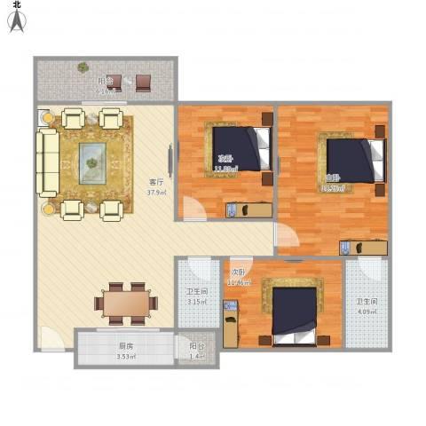 嘉禾新城3室1厅2卫1厨131.00㎡户型图
