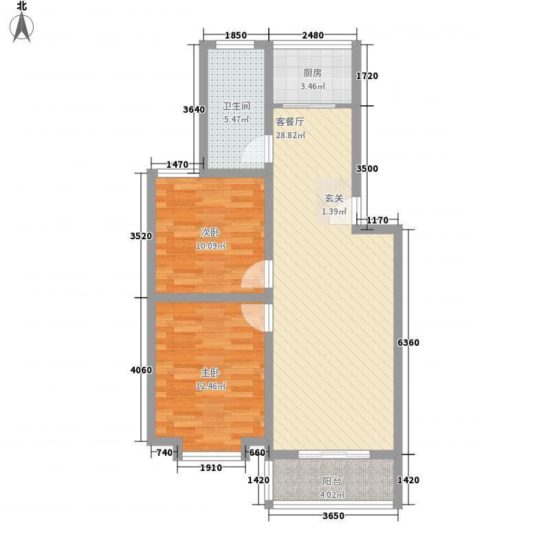 蓬莱紫荆国际山庄户型2室2厅1卫1厨