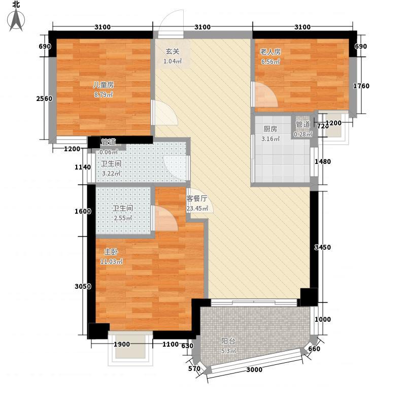 东泰城市花园2.00㎡B户型3室2厅2卫1厨