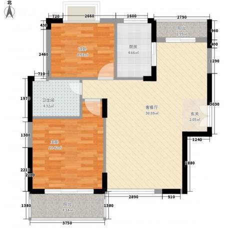 商城世纪村2室1厅1卫1厨96.00㎡户型图