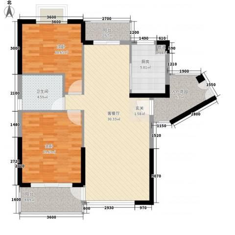 商城世纪村2室1厅1卫1厨95.00㎡户型图