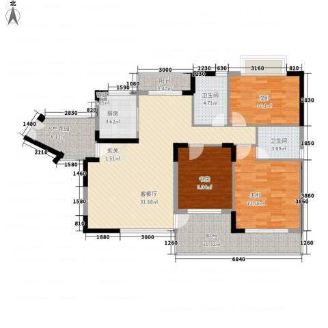 商城世纪村3室1厅2卫1厨135.00㎡户型图
