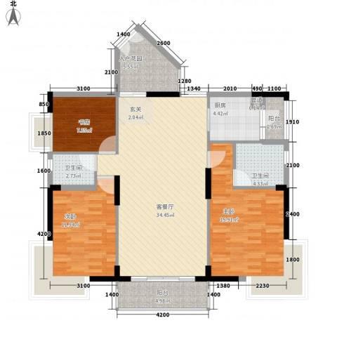 商城世纪村3室1厅2卫1厨128.00㎡户型图