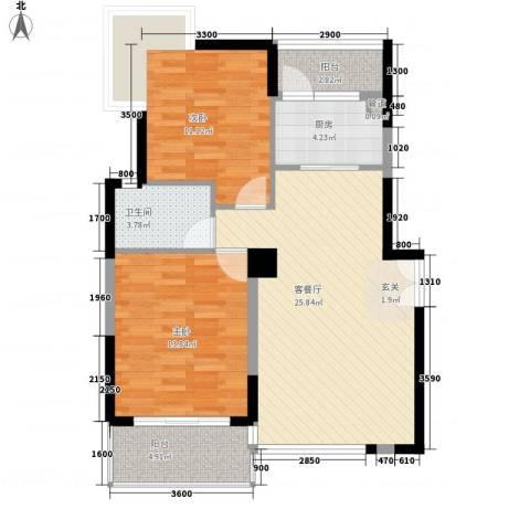 商城世纪村2室1厅1卫1厨91.00㎡户型图