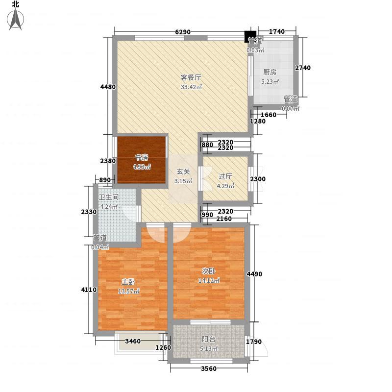 威高・青缇湾125.00㎡2#标准中间户正户型3室2厅1卫1厨