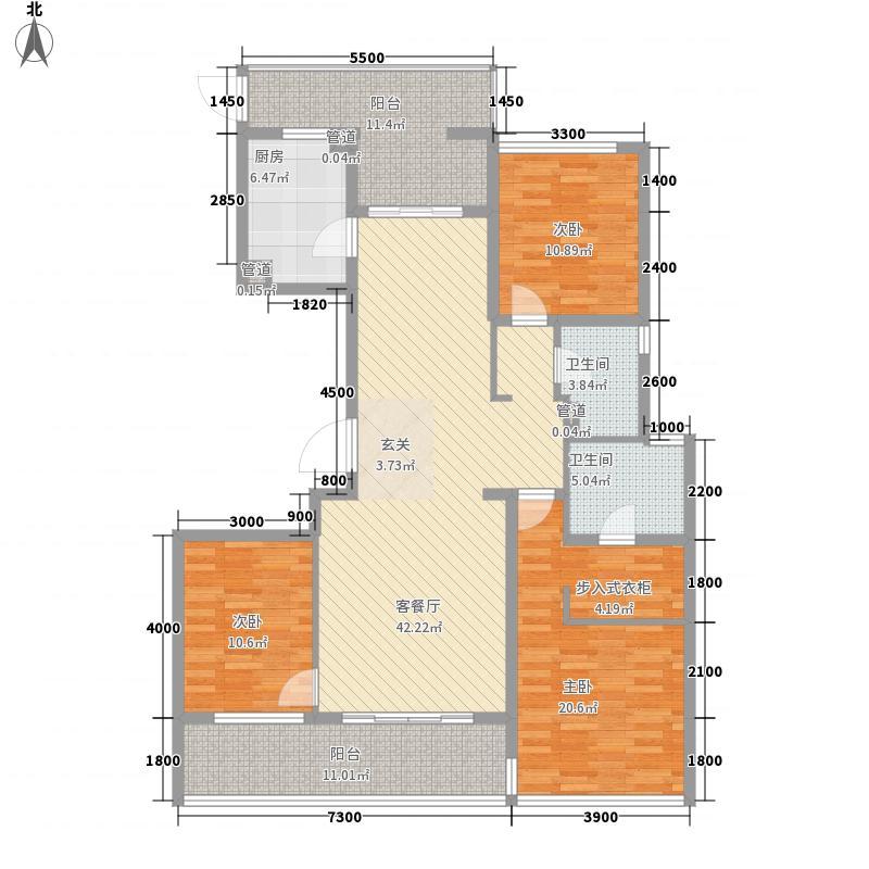 润富国际花园一期1号楼标准层A2户型3室2厅2卫1厨