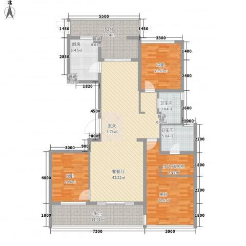 润富国际花园3室1厅2卫1厨174.00㎡户型图