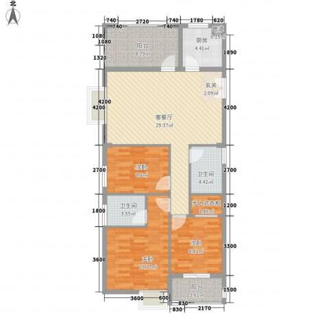英才商厦3室1厅2卫1厨124.00㎡户型图