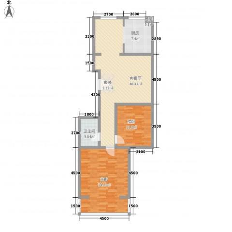 北美枫情2室1厅1卫0厨79.77㎡户型图