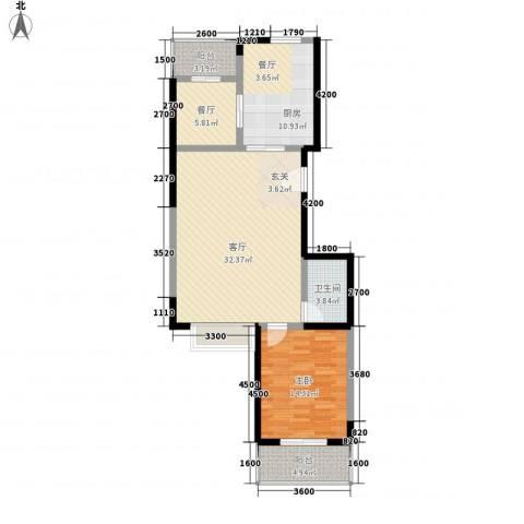 北美枫情1室2厅1卫1厨75.39㎡户型图
