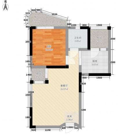 鹿茵华庭1室1厅1卫1厨66.00㎡户型图