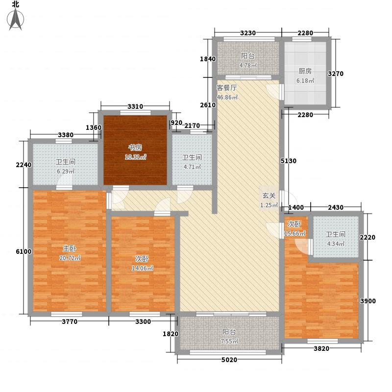 鲁德海德堡188.00㎡7#、8#G户型4室2厅3卫1厨